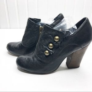 Anthropologie | Leather Buttons Booties